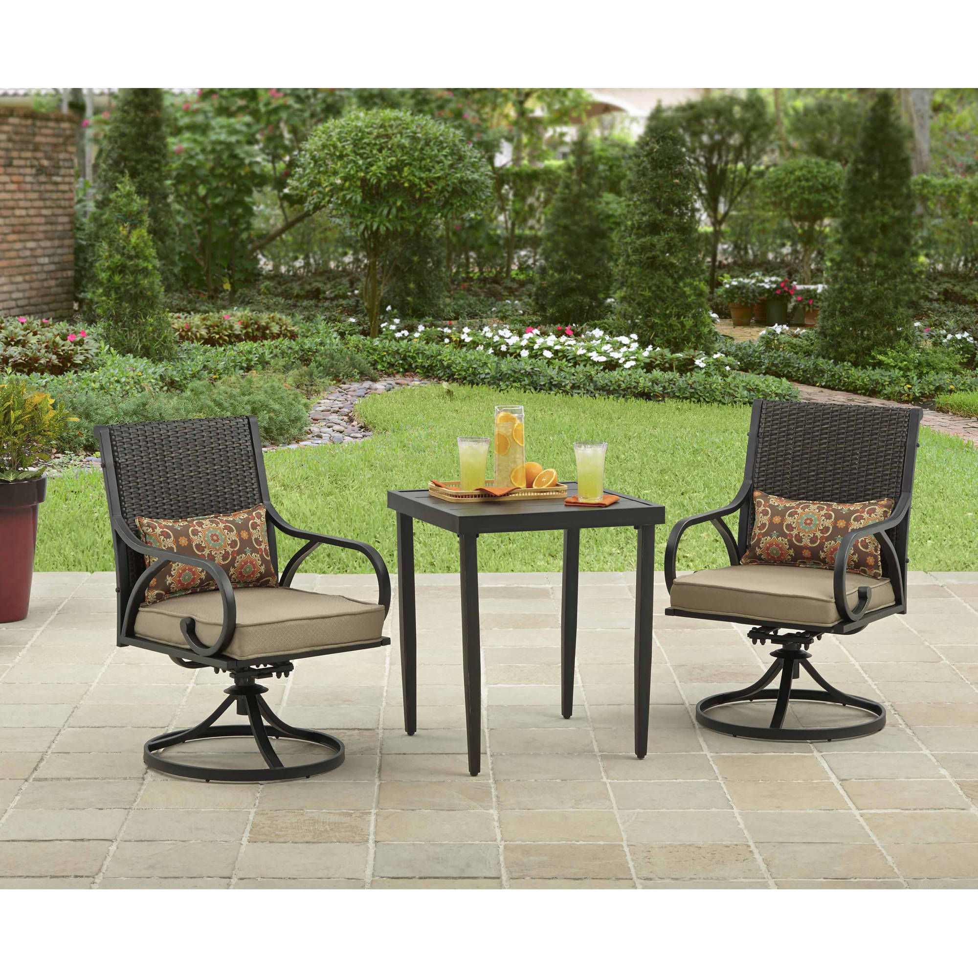 details about outdoor bistro set 3 piece table chairs swivel rocker wicker patio furniture