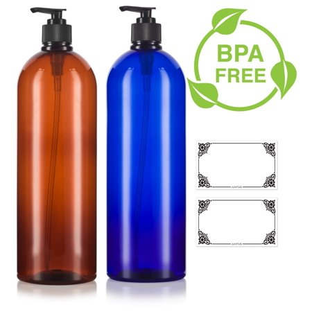 Gel 32 Oz Pump Bottle (Amber and Cobalt Blue 32 oz Large Boston Round PET Bottles (BPA Free) with Black Lotion Pump Set -2 PACK + Labels)