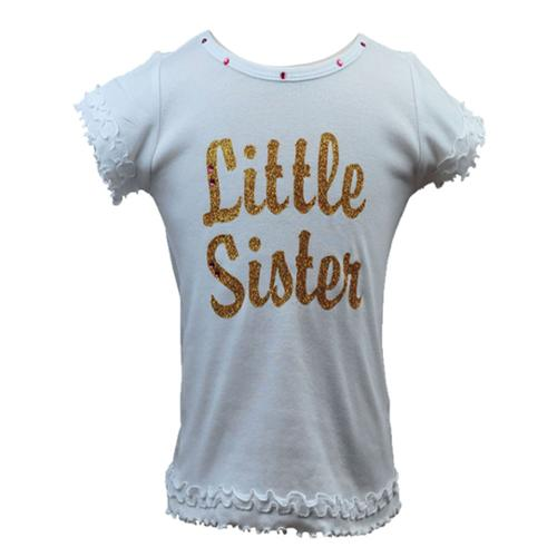 Reflectionz Baby Girls White Gold Sparkle Little Sister Ruffle Top 12 - 18M
