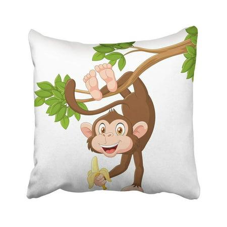 ARTJIA Brown Animal Cartoon Happy Monkey Hanging And Holding Banana Cute Funny Laugh Mascot Ape Pillowcase 18x18 - Banana Mascot