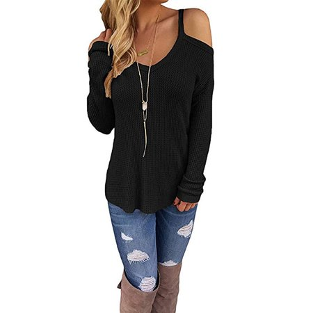 b50ced3709253 Vista - Women s Cold Open Shoulder Tops Plain Shirts V Neck Long Sleeve Tee  Knitted Loose Casual Blouses - Walmart.com