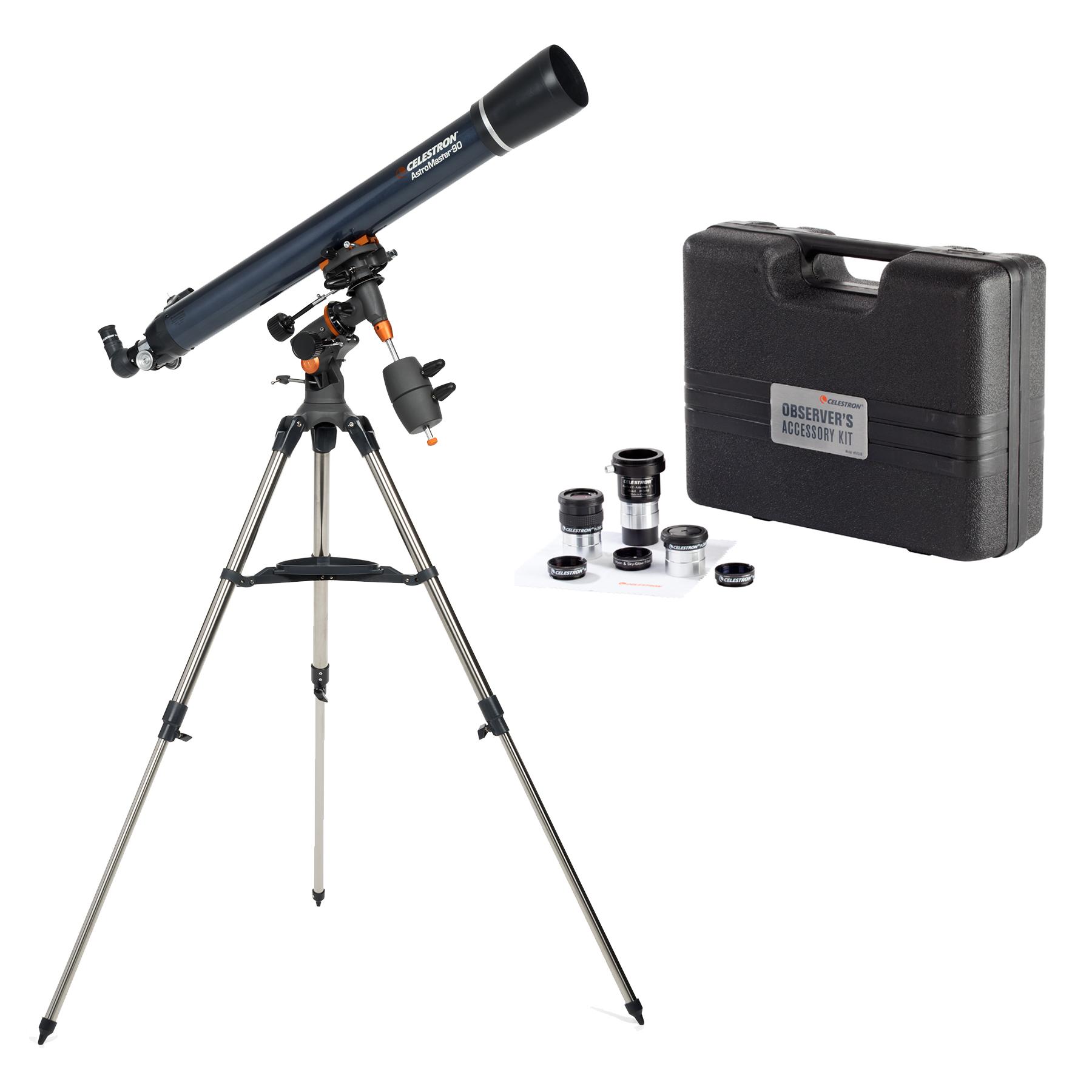 Celestron AstroMaster 90EQ Telescope with Celestron Observers Accessory Kit