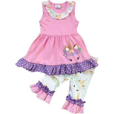 Infant Girls 2 Pieces Pant Set Unicorn Dress Ruffle Outfit Clothing Set Pink 2T XS (201272) (2t Outfits)