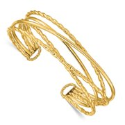 14k Polished Multi Tube Cuff Stackable Bangle Bracelet Jewelry Gifts for Women - 7.6 Grams