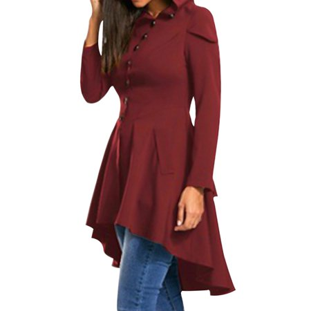 Fancyleo Women Fashion Casual Long Sleeve Solid Color Layered High Low Hooded Coat Pullover