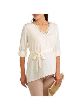 Maternity Embroidered Vneck 3/4 Sleeve Belted Shirt