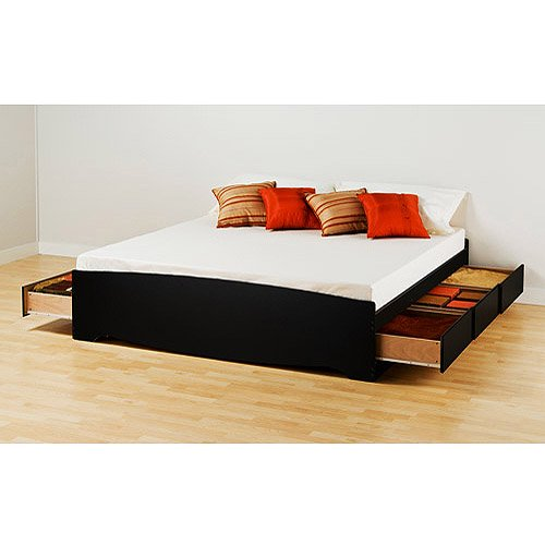 Prepac brisbane king platform storage bed black for Bedroom furniture brisbane