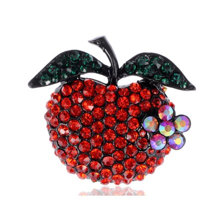 Ruby Red Crystal Rhinestone Emerald Leafy Teacher's Pet Apple Fruit Pin