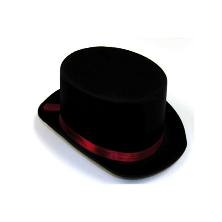 Halloween Black Satin Top Hat with Red Band