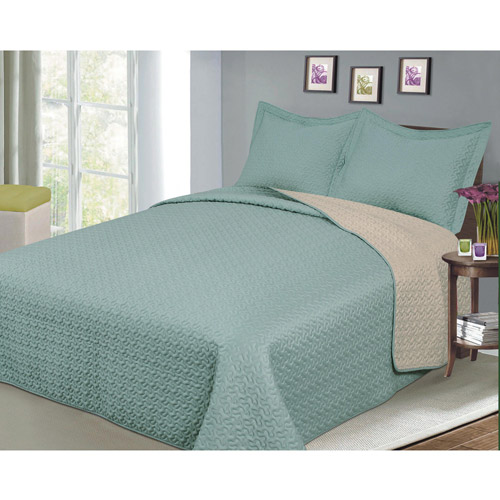 Luxury Fashionable Reversible Solid Color Bedding Quilt Set, Camel Sage by Generic