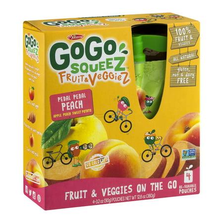 India Sweet Fruit - GoGo Squeez Fruit & Veggiez Fruit & Veggies On The Go Pedal Pedal Peach - 4 CT