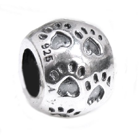 Paw Pet Charms - Queenberry Sterling Silver Pet's  Paw with Love Heart European-style Bead Charm Fits Pandora
