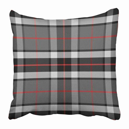 USART Red Plaid Scottish Tartan Tompson Black Gray and White Abstract Britain British Clan Pillow Case Cushion Cover 18x18 inch