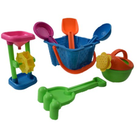 7 Pc Sand Castle Bucket Set - Kids Beach Assorted Castle Building Playset with Sand Castle Bucket Mold, Watering Can, Sand and Water Wheel Rake Sand Sieve Shovel and Oval - Sand Bucket