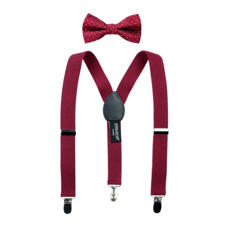 Spring Notion Boys' Suspenders and Polka Dot Bow Tie Set (Pink Bow Tie And Suspenders)