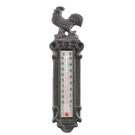 Decorative Cast Iron Thermometer - Rooster - 9