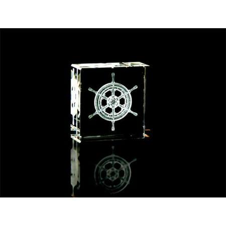 Asfour Crystal 1162-50-123 2 L x 2 H x 1 W in. Crystal Laser-Engraved Ship s Wheel Sealife & Nautical Laser-Cut