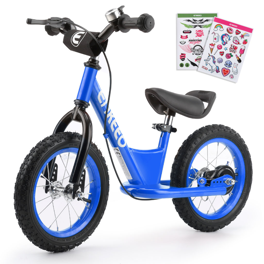"ENKEEO 12"" Sport Balance Bike No Pedal Control Walking Bicycle Transitional Cycling Training with Adjustable Seat and Upholstered Handlebars for Kids Toddlers under 3'11"" Height, Blue"