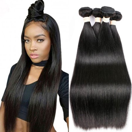 CARA Brazilian Virgin Hair Straight Hair 3 Bundles Human Hair Extensions, 10