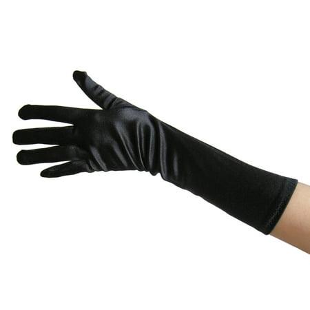 SeasonsTrading Black Satin Gloves (Elbow Length) - Wedding, Prom, Party