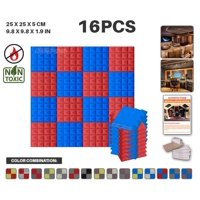 """Acepunch Blue and Red 9.8"""" x 9.8"""" x 1.9"""" Pyramid Acoustic Foam Studio Sound-Absorbing Tile Panel 16 pcs"""
