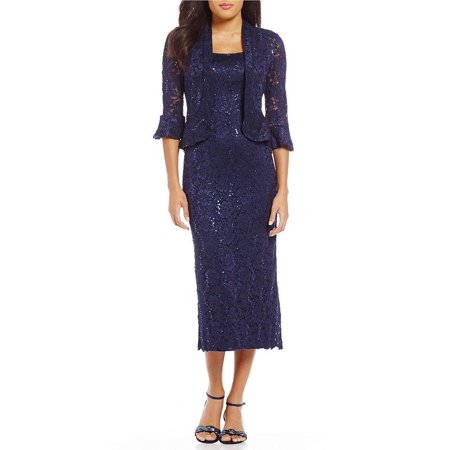 RM Richards Women's Sequin Lace Midi Dress With Jacket - Mother of The Bride Wedding (Bridal Gown Jackets)