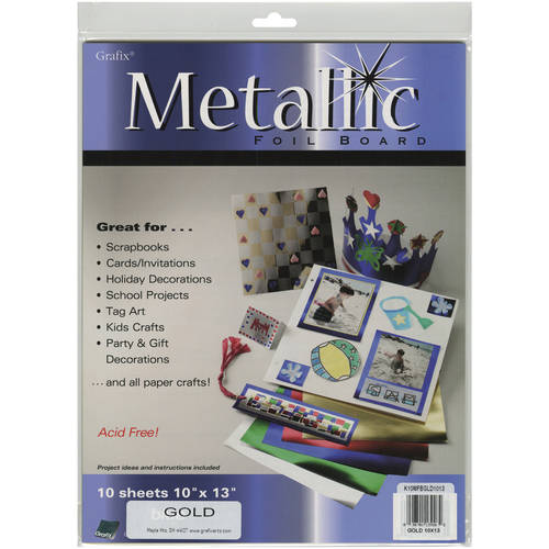 Grafix Foil Board: Assorted Colors, 10 x 13 inches, 10 pack