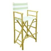 ZEW CH-192-0-23-Bamboo High Director Chair - Celadon Stripes- SET 2