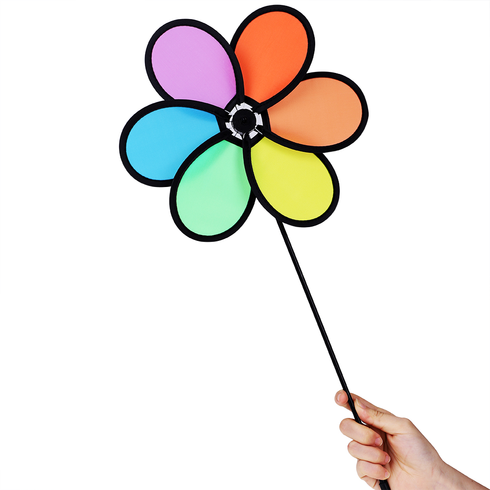 Keenso DIY  Multicolor Flower Windmill Pinwheel Whirligig Garden Windmill Plastic Toy Classic Children,DIY  Gift, Flower Windmill