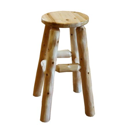 Furniture Barn USA ® White Cedar Log Kitchen Stool - Bar Height