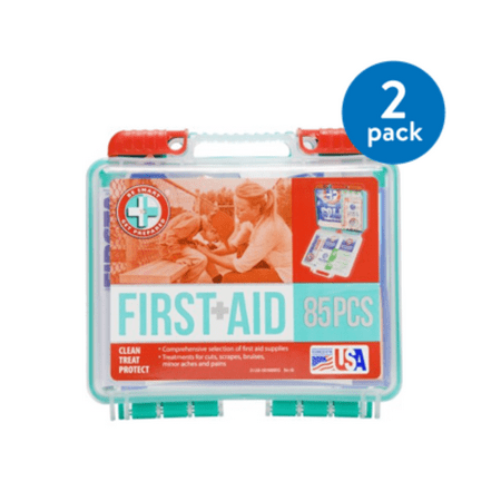 First Aid Textbook - (2 Pack) Be Smart Get Prepared First Aid Kit, 85 count