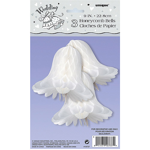 9'' White Bells Honeycomb Decorations, 3pk