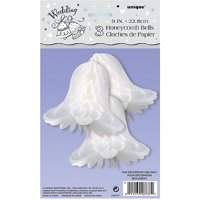 Honeycomb Tissue Paper Wedding Bells Decorations, 9 in, White, 3ct