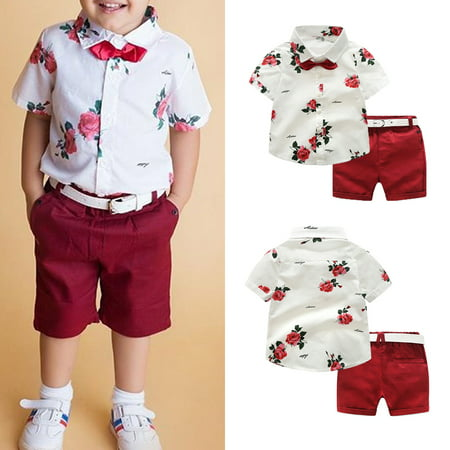 Fashion Toddler Kids Baby Boy Gentleman Clothes Shirt Tops Shorts Pants Formal Party Outfits 1-2