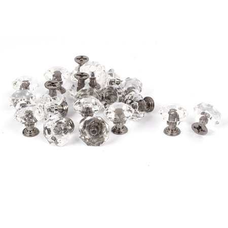 Unique Bargains Cabinet Cupboard Drawer 26mm Diamond Shape Crystal Plastic Pull Knob 20pcs