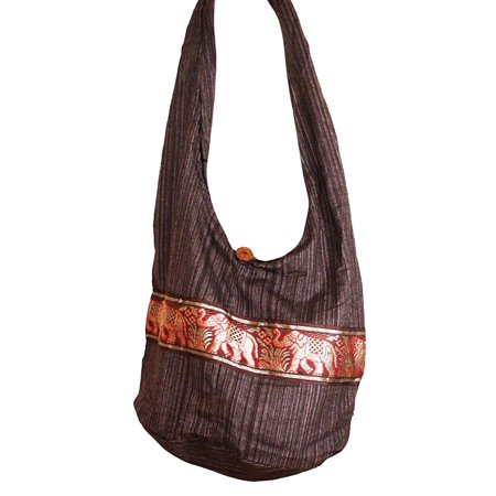 Hippie Elephant Sling Crossbody Bag Purse Thai Top Zip Handmade New Color  Brown ELB-02