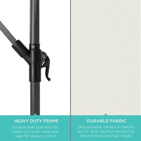 Best Choice Products 10ft Solar LED Offset Hanging Outdoor Market Patio Umbrella w/ Easy Tilt Adjustment - Cream