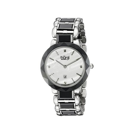 Mother Of Pearl Silver Wrist Watch - Women's BUR147BK Silver and Black Quartz Watch With Diamond Mother of Pearl Dial And Black and Silver Ceramic Bracelet