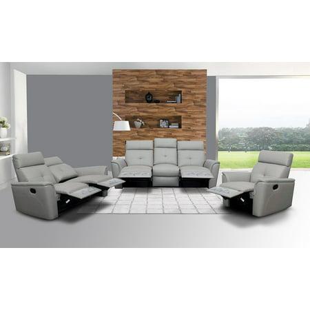 ESF 8501 Chic Light Grey Italian Leather Recliner Sofa Living Room Set 3Pcs