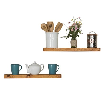 del Hutson Designs Handmade Rustic Pine Wood (2 x 24 x 5.5-Inch) Floating Shelves, Walnut (Set of 2)