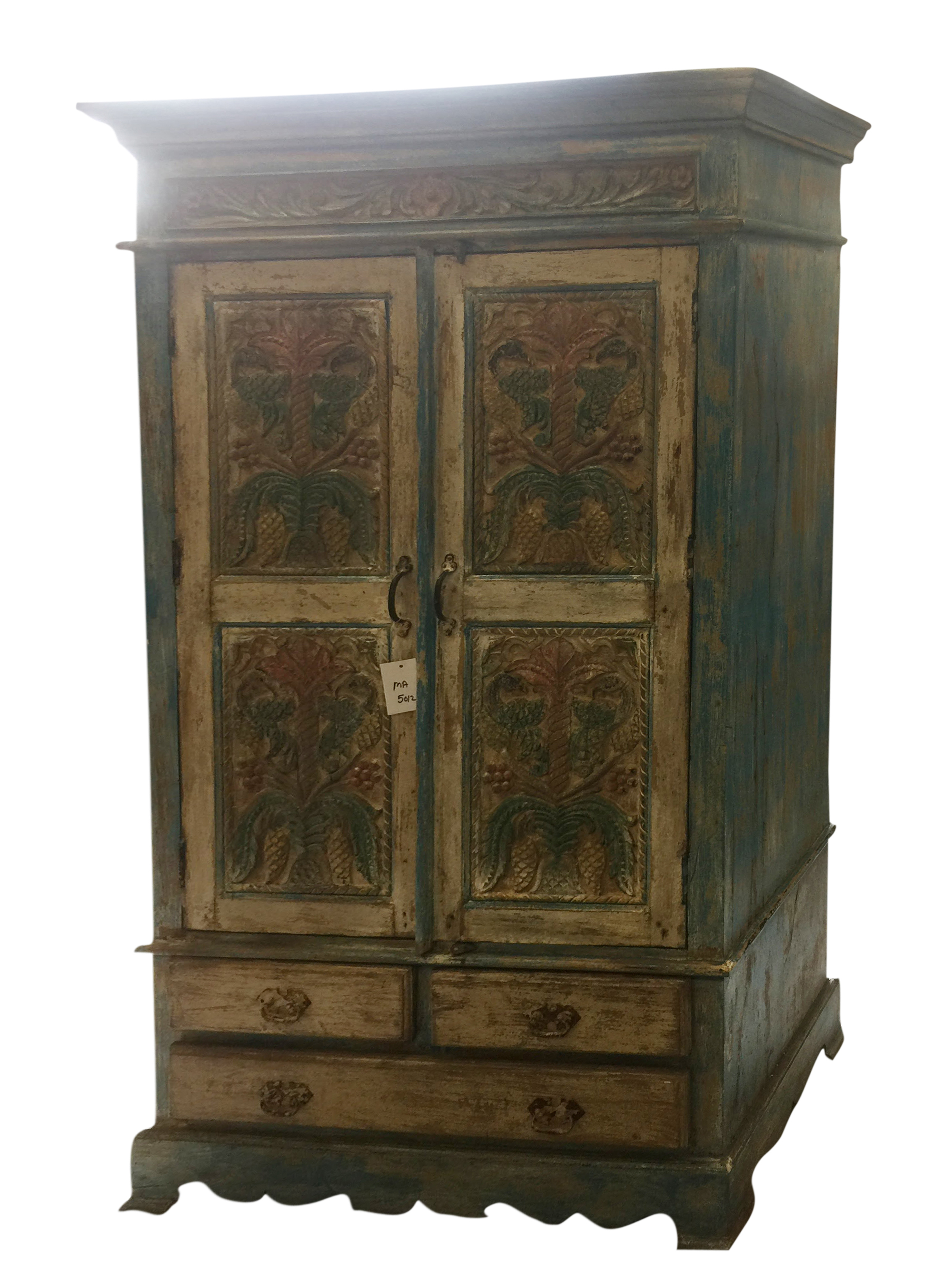 Mogul Antique Indian Handcarved Cabinet Chest Rustic Furniture Armoire with Drawers Rustic Interior Decor NEW Shipment