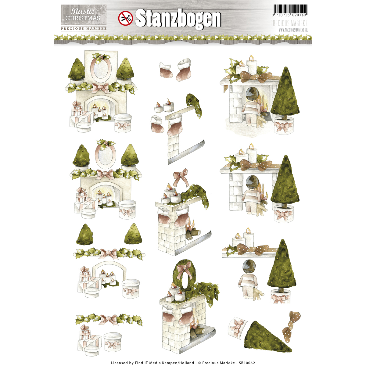 Find It Precious Marieke Rustic Christmas Punchout Sheet-Fireplaces