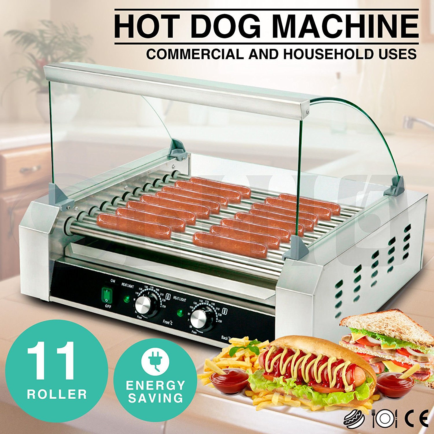 Commercial Hotdog Roller 11 Roller Grill Hot Dog Cooker Machine