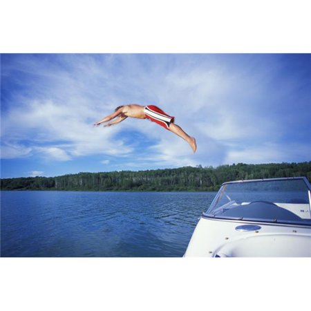 Posterazzi DPI18655LARGE Diving Into A Lake Poster Print, 34 x 22 - image 1 de 1