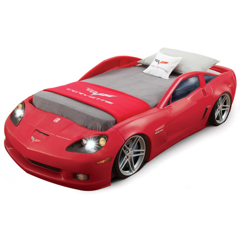 Step2 Corvette Convertible Toddler To Twin Bed With Lights, Red