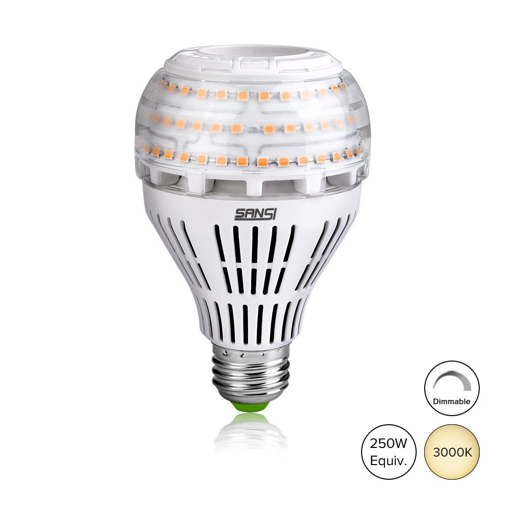 27W (250 Watt Equivalent) A21 Dimmable LED Light Bulbs, Super Bright 3500 Lumens, 3000K Soft Warm White Bulb, Omni-directional Light, E26 Base LED Floodlight, 5-Year Warranty, SANSI (2 Pack)