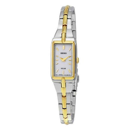 Seiko Women's SUP272 Solar Core White Dial Two Tone Yellow Gold Steel Quartz Watch Seiko White Bracelet