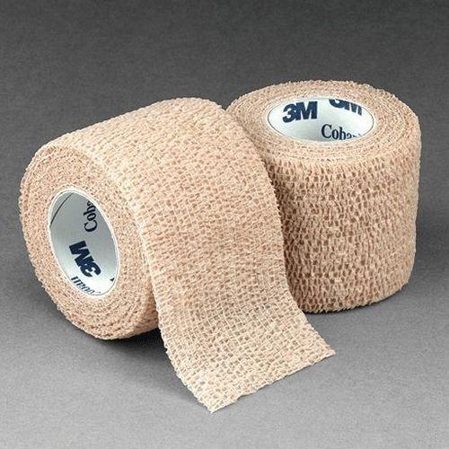 3M Coban Self-Adherent Wrap ''Tan, 2 Inch x 5 yds, Latex, Single Roll'' 8 Pack