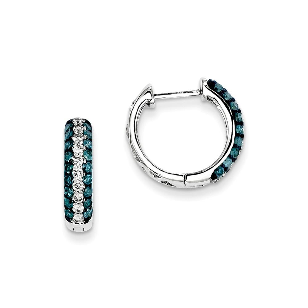 14k White Gold White Blue Diamond Hinged Hoop Earrings. Carat Wt- 1.05ct (0.6IN Diameter)