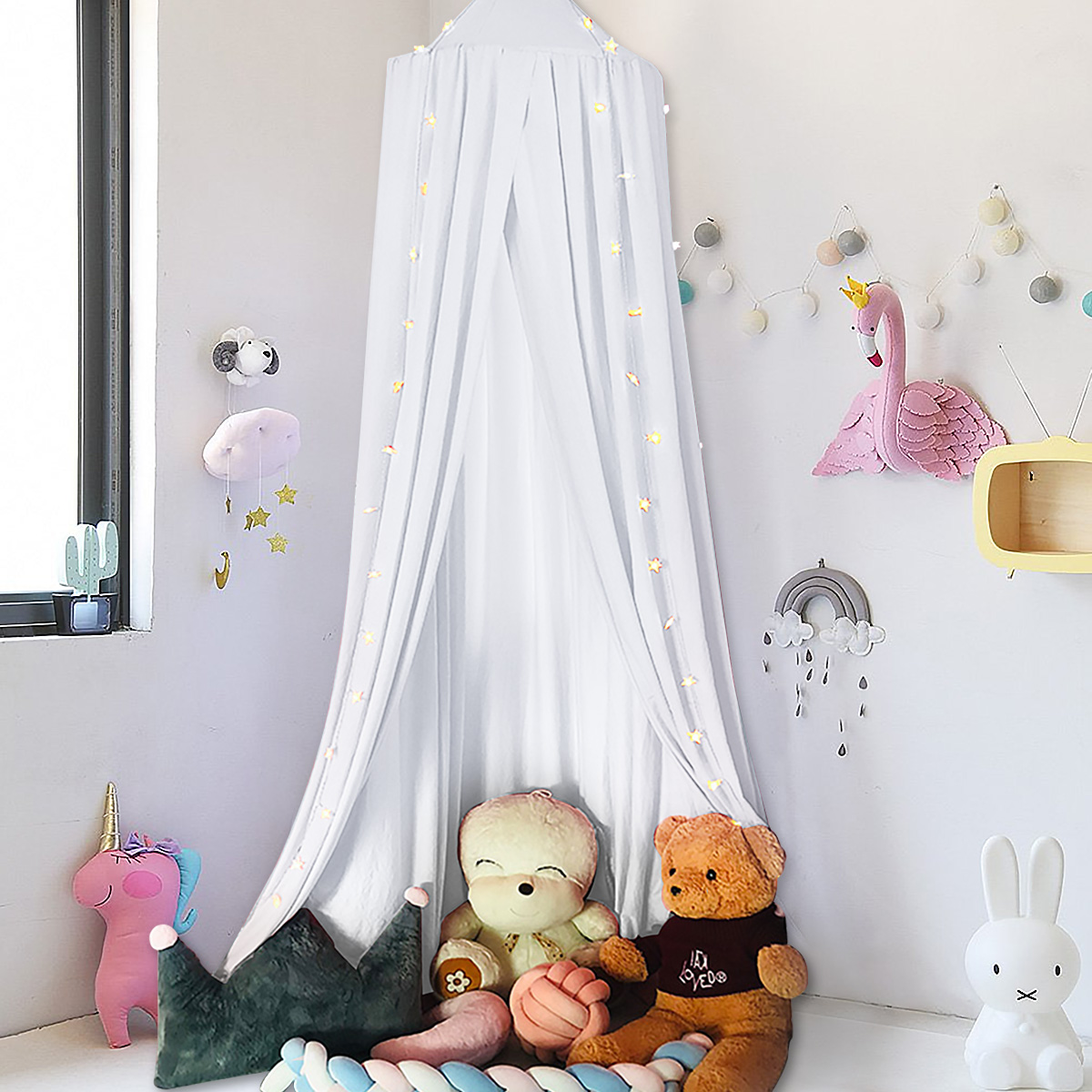 Baby Bedding Round Dome Bed Canopy Kids Play Tent Hanging Mosquito Net Curtain For Baby Kids Reading Playing Sleeping Room Decoration